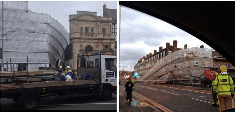 Images of last weeks collapses:Hall Quay, Great Yarmouth & Wavertree High Street, Liverpool