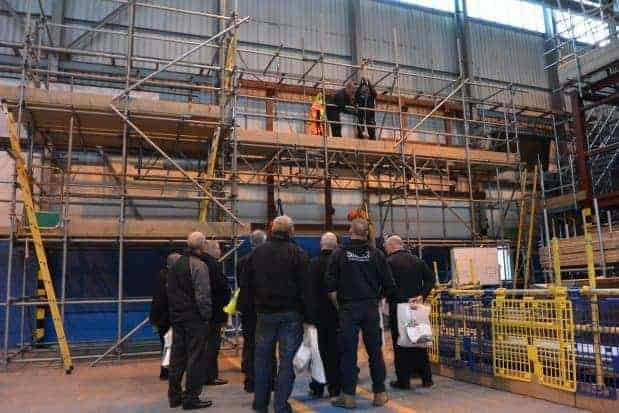 Guests watch Simian's Scaffolders Rescue demonstration.