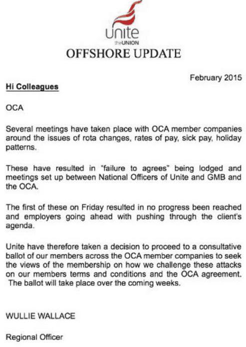 Offshore contractors strike