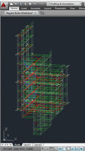 3D Wireframe Model Exported from Scaffold Designer