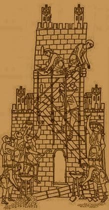 History of Scaffolding -Medieval builders constructing a castle
