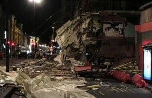 Building collapse onto scaffolding in Newcastle
