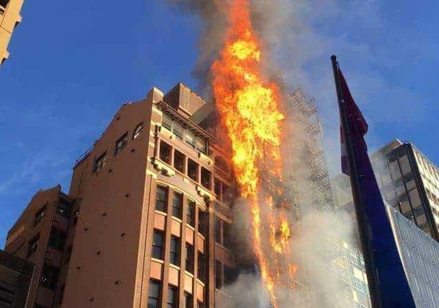 Scaffolding engulfed in flames in Sydney