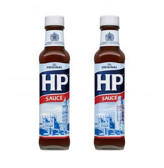 HP Sauce old and new showing Big Ben / Houses of Parliament