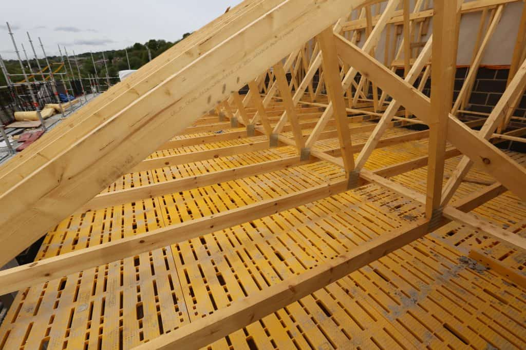 TRAD Deck shown under roof trusses