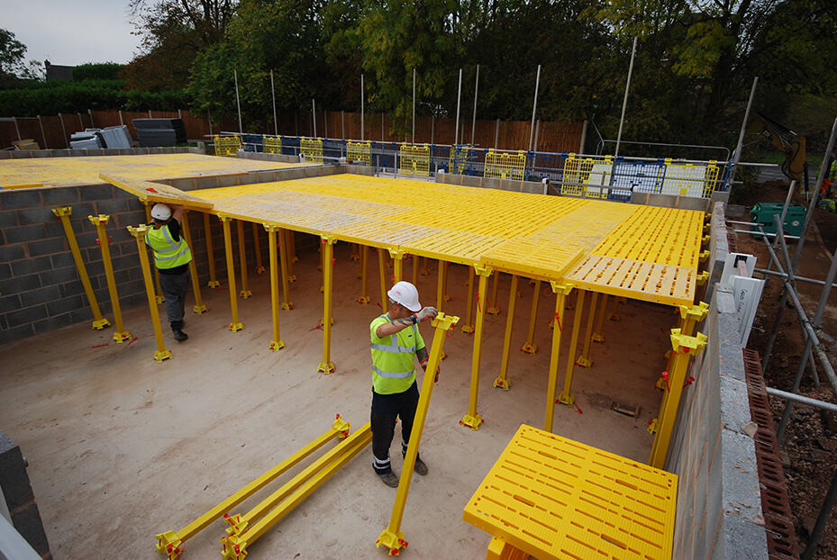 Workers erecting TRAD Deck