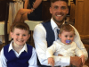 Image of scaffolder Josh Holmes with his children, Josh has been left paralysed after a motocross accident