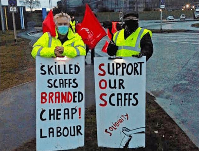 Scaffolders on strike in Scunthorpe