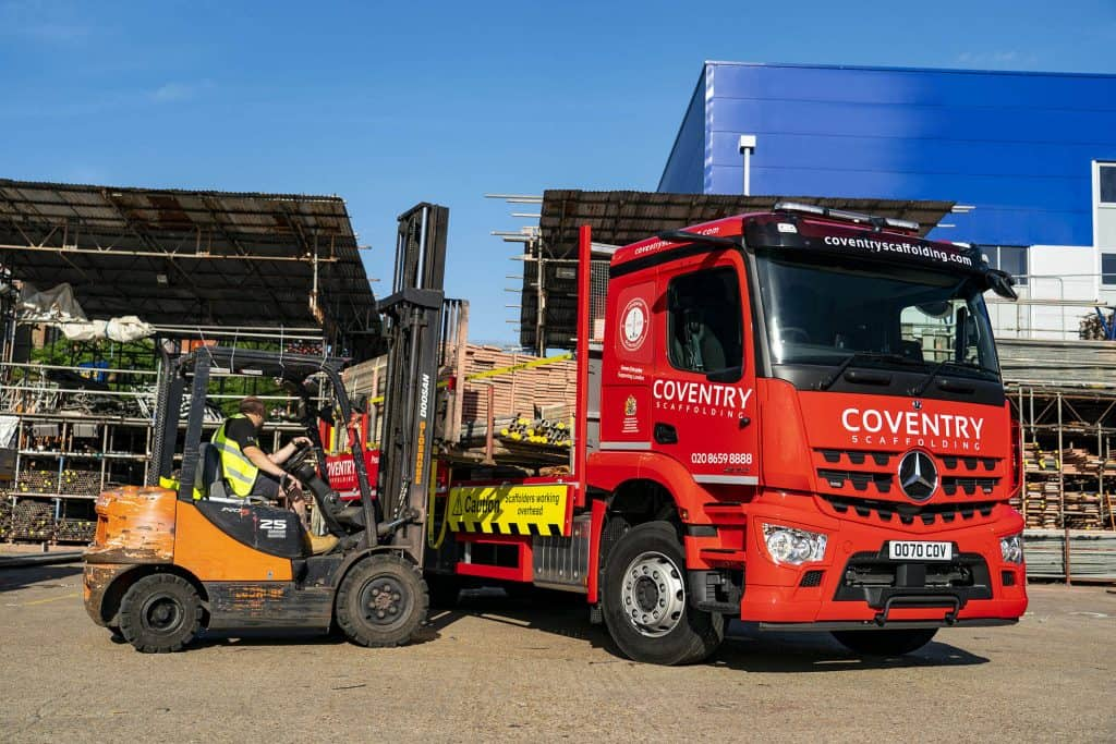 After more than 70 years in business Coventry Scaffolding has commissioned its first Mercedes-Benz truck, a 26-tonne Arocs